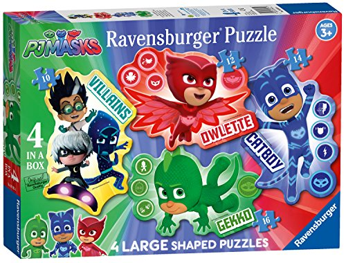 Ravensburger PJMasks 4 Puzzles de Puzzles en Forma Grande (10,12,14,16pc)