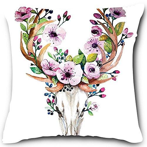 Funny mayorista ciervos calavera con flores funda de almohada, 18x 18inches