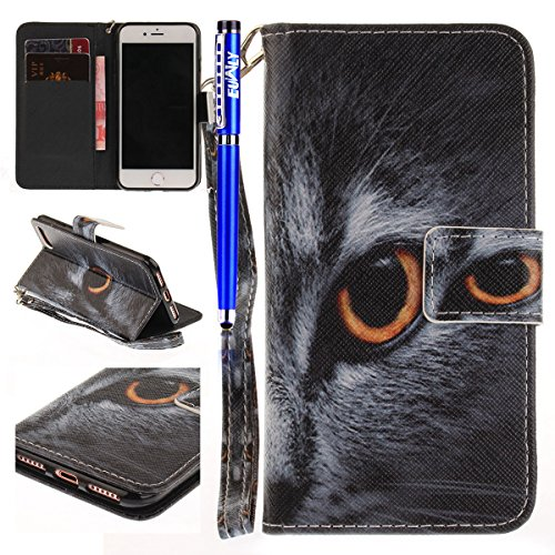 FESELE Housse Etui Cuir PU Coque pour iPhone 6 Plus/6S Plus,FESELE Flexible Housse de Protection PU Leather Flip Wallet Bookstyle Cover Case Coque Peint étui de Support Design Protective Case Housse C Chat