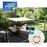 sunprotect 83236 Waterproof Toldo / Vela de Sombra, 3.5 x 4.5 m, rectangular, crema