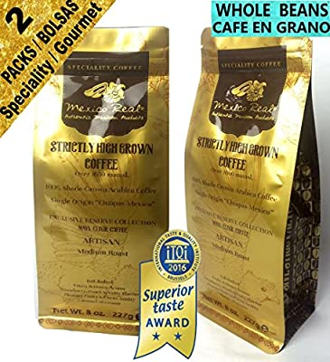 Mexico Real Cafe: Gourmet Mexican Coffee. Maya Elixir Chiapas Coffee. Whole Bean Coffee. 2 packs 454 gr. Superior Taste Award Winning Artisan Coffee. 100% Gourmet Arabica Coffee. Specialty Coffee. Single Origin Coffee. Strictly High Grown Coffee. Medium R