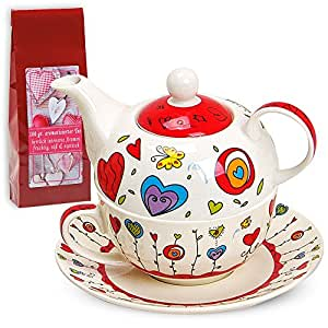 Tea For One Teapot Set With Cup And Saucer In Gift Box 17 x 13 cm Flowers/Hearts Design Red