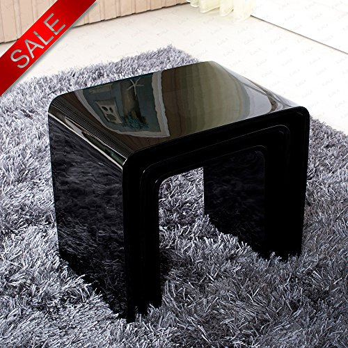 Excellent Schindora High Gloss Nest of 3 Table Black Coffee Table Side Table  ZY11
