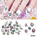 Meicailin mix 20pcs japanische art nail art retro metal legierung gold silber nail art stein dekorationen diy 3d charme nagel versorgt (Silver)