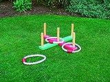 Juegos clásicos de jardín Quoits Set (5cuerda, & de madera meta) - Lazy Days - amazon.es