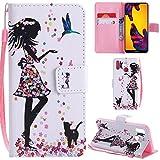 Ooboom Huawei Honor 8X Hülle Flip PU Leder Schutzhülle Handy Tasche Case Cover Wallet Standfunktion mit Kartenfächer Trageschlaufe für Huawei Honor 8X - Mädchen
