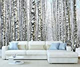 StickersWall Giant Winter Tree Snow Forrest Wall Mural Photo Wallpaper Picture Self Adhesive 1029 ( 342cm(W) x 242cm(H))