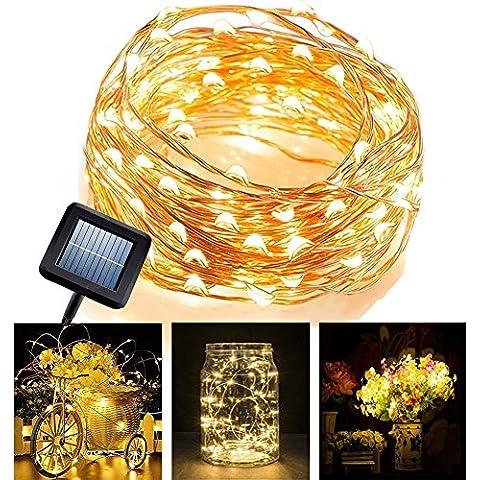LED Cadena de Luces Solar en alambre de cobre Impermeable Flexible MAGFLY 10M / 33FT 100 LEDs luz ambiente,iluminación para exteriores,jardines, casas, fiesta de Navidad (Blanco Cálido)
