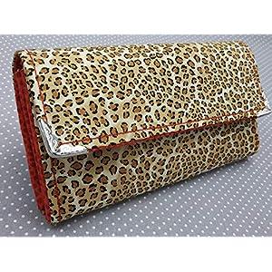 Handgenähte Geldbörse Geldtasche Portmonnaie Frauen Brieftasche Geldbeutel Leopard