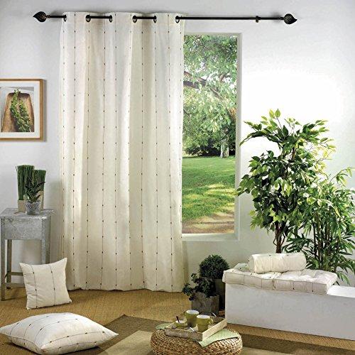 Douceur d'interieur - tende in 60% cotone, 40% poliestere, 140 x 260 cm, con anelli, bicolore, in jacquard, colore: naturale/marrone