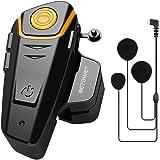 BETOWEY BT-S2 Auriculares Intercomunicador Moto Bluetooth para Motocicletas, Intercomunicador Casco Moto con Radio FM, Gama C