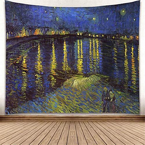 Europäische Praxis-serie (zhangkaixiang Europäische und Amerikanische Wind Star Moonlight wandbehang Van Gogh berühmte malerei Serie Wohnzimmer Dekoration hängen Tapisserie GP15006 200 * 180)