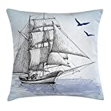 New Shorts Nautical Throw Pillow Cushion Cover by, Vector Sketch Sailboat on Sea with Bird Retro Drawing Marine Theme Pr