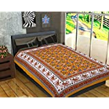 Jaipuri Bedsheets (120 TC 100% Cotton Multicolor Printed 1 Single Bedsheet Without Pillow Cover)-By Fashion DzinerBed Sheet Cum Blanket, Bedsheet- Brown, Classic, Sobar, Hotel, Royal, Rich, Girls, Boys, Men, Women, Skin Friendly, Comfortable, Soft, Stylis