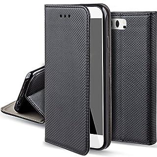 Moozy Hülle Flip Case für Huawei P10, Schwarz - Dünne magnetische Klapphülle Handyhülle mit Standfunktion