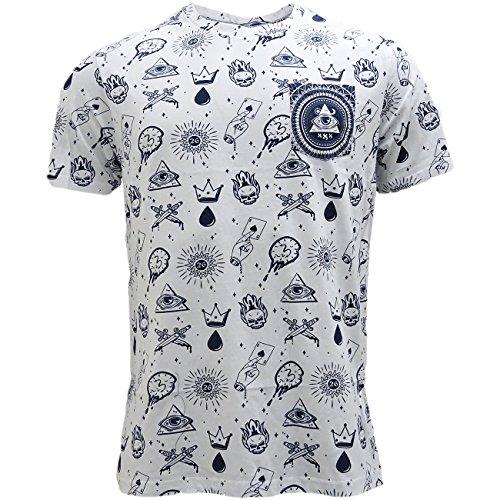 Herren Brave Soul Tatiana Böser Blick Überall Bedruckt T-shirt Kurzärmeliges T-shirt Top Weiß - Marineblau