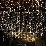GlobaLink 6 x 3M Stringa Luminosa Luci con 600 Barriere Fotoelettriche Luci Stringa Luce LED Illuminazione Bianca Calda per le Finestre Festa di Natale Decorazione di Matrimonio all'Aperto, ecc