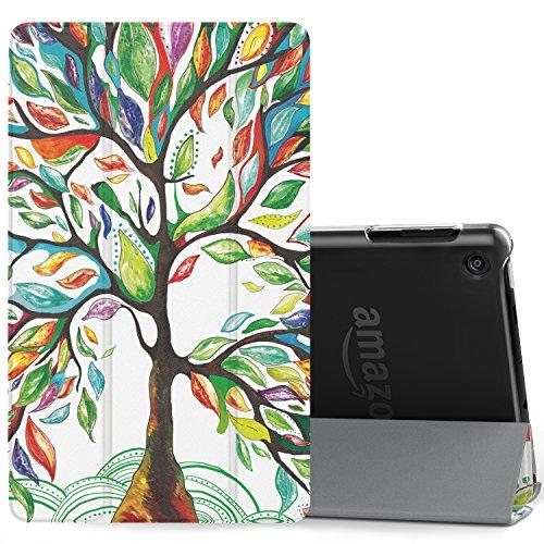 MoKo Hülle für All-New Amazon Fire HD 8 Tablet (7th Generation – 2017 Modell) - Ultra Slim Lightweight Smart Cover mit Durchschaubar Rückseite Schutzhülle für das neue Fire HD 8, Glück Baum (Tasche Alexa)
