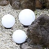Kugelleuchten 3er SET, Gartenbeleuchtung 2 x 20 cm & 1 x 30 cm Ø, Außenleuchten, weiße Gartenlampen, Innen & Außen, Gartenkugeln für Energiesparlampen E27 & LED - 230 V & 20W, Kugellampen mit IP44