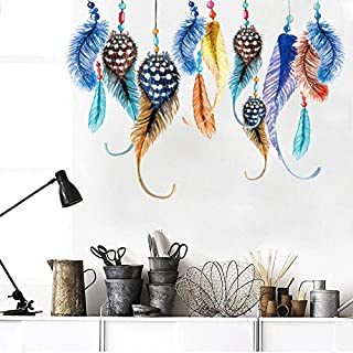 Colorful Feathers Wall Stickers Removable Wall Decal for Girls and Boys Nursery Baby Room Children's Bedroom by AWAKINK