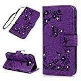 Mavis's Diary A5 2017 Case ,Samsung Galaxy A5 Case (2017 Model) - Retro PU Leather Bling Case Wallet Flip Cover Glitter Gems Diamonds Butterfly Embossed Design Anti-slip Stand Magnetic Closure ID / Card Slots Bumper Protective Case with Wrist Strap - Purple