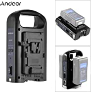 Andoer AD-2KS 2-Channel Dual Camcorder Battery Charger Professional 4-pin XLR DC Output & Portable Handle for V-Mount Batter