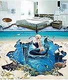 Wallpaper Experten 3D-Bodenbeschichtungen Fußboden Bilder zeigen einen Hintergrund Mall auf der geflieste Boden Mermaid 3 D, selbstklebend, Papier Verschleiß