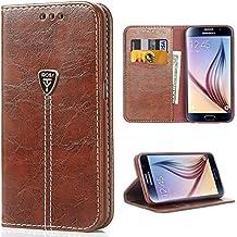 iDoer Galaxy S6 Funda con tapa libro piel y TPU cartera cover Funda de cuero carcasa bumper protectores S6 estuches soporte flip Case para Samsung Galaxy S6 café