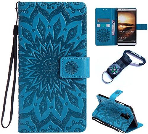 für Huawei Ascend Mate 7 hülle Schutzhülle handlich abziehbar case 3D Reliefmalerei Slim PU Hard Back Portemonnaie Case Cover Ascend Mate 7 (6 Zoll (15,2 cm)(+Outdoor Kompass Schlüsselanhänge)#Q