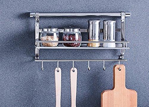 Shelf Stainless Steel Cookware Shelf Hook Kitchenware Storage Shelf Two Kitchen Shelf Wall ( Size : A )