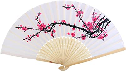 Cloth Fabric Wooden Folding Hand Fan Plum Blossom Pattern