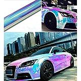 Pellicola olografica di rivestimento autoadesiva, per auto, in vinile, effetto iridescente e cromato, non fa bolle, 138cm x 50cm