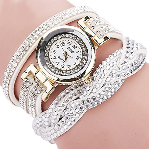 - 61LXGaZqJxL - Fashion Luxury Rhinestone Bracelet Women Watch Ladies Quartz Watch Casual Women Wrist Watch (White)