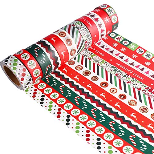 Howaf 12er Set Weihnachten Washi Tape Dekoband Masking Tape Klebeband Washitape Scrapbooking DIY Basteln Geschenkverpackungen