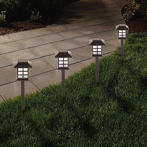 Solalite-Juego de 8LED de color blanco Solar farol de transporte estilo Oriental Garden Pathway o frontera Juego luces