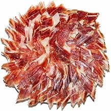 Jamón Ibérico de Guijuelo (Pata negra) Loncheado a Cuchillo. Cortado a mano y envasados al vacío. Lote de 10 platos redondos de 100 Grs. por unidad.