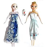 UNIQUE CREATION Disney Frozen Adventure Barbie(Elsa, Anna & Olaf) Dolls - D2145 Two Dolls with Dog, Multi Color