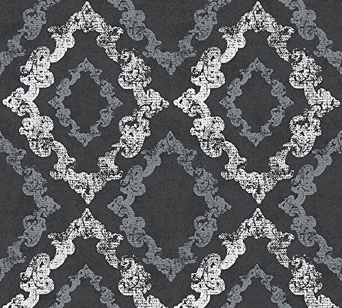 A.S. Création Vliestapete mit Glitter Memory 3 Tapete mit Ornamenten barock 10,05 m x 0,53 m metallic schwarz weiß Made in Germany 329895 32989-5
