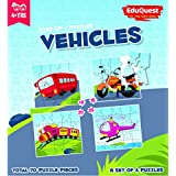 EduQuest - Jigsaw Puzzle - Vehicles - 4+ Years Old - Set Of 4 Puzzles - 10,15,20,25 Piece Puzzles - Bus (10 Piece), Bike (15 Piece), Train (20 Piece), Helicopter (25 Piece)