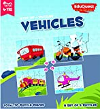 #8: EduQuest - Jigsaw Puzzle - Vehicles - 4+ years old - Set of 4 puzzles - 10,15,20,25 piece puzzles - Bus (10 piece), Bike (15 piece), Train (20 piece), Helicopter (25 piece)