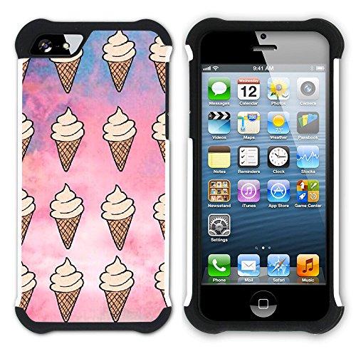 Graphic4You Eis Eistüte Eis am Stiel Hart + Weiche Kratzfeste Hülle Case Schale Tasche Schutzhülle für Apple iPhone SE / 5 / 5S Design #7