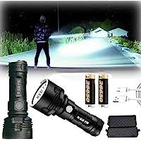 30000-100000 lumen Lampada torcia impermeabile LED ad alta potenza, Ultra luminosa 3 modalità La più potente torcia…