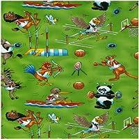Fat Quarter I Giochi Giochi Olimpici Sport Animali Verde Cotone Tessuto Nutex