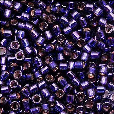 Granos de la semilla Delica desconocida 7,2 gramos, Silver Lined Dark Purple Dyed