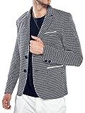CLOCOLOR Blazer Homme Slim Fit Costume Garçon de Deux Boucles Occasionnels Jacket pied-de-poule Taille ajusteé pour Soirée Dîner Mariage Business Loisir Gris M