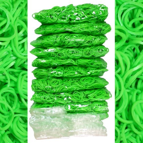 -Piece Lime Green Rubber Band Kids Craft with Rainbow Bracelet Kit Refill Pack by Bluedot Trading ()