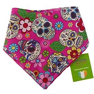Dimples Bandana pour chien - Crânes mexicains roses (fait à la main pour toutes les tailles et races)
