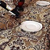 XHX Chemins de table, nappe pour table à manger/thé/téléviseur avec chemin de table en dentelle faite à la main, kaki doré, chemin de table en chenille et daim env. 87 cm