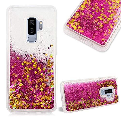 Cestor Glitzer Flüssigkeit Kristall Hülle für Samsung Galaxy S9,Mode Luxus Dynamisch Sterne Flüssig Treibsand Silikon Ultra Slim Durchsichtig Hart PC Handyhülle für Samsung Galaxy S9,Rose Rot