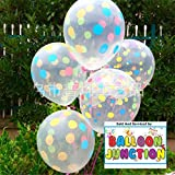 Themez Only Printed Transparent (Crystal) Balloons For Theme Party Decoration (Polka)